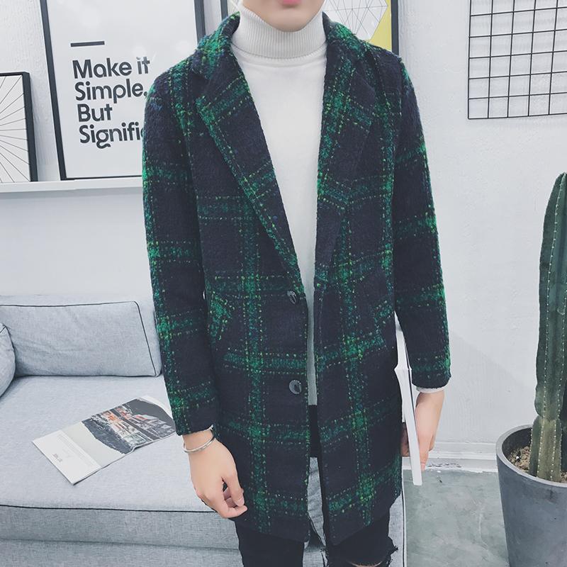 Оптом- мужчина длинные шерстяные пальто зима плед толстые длинные куртки мужская мода повседневная вовная одежда плюс размер m-5xl