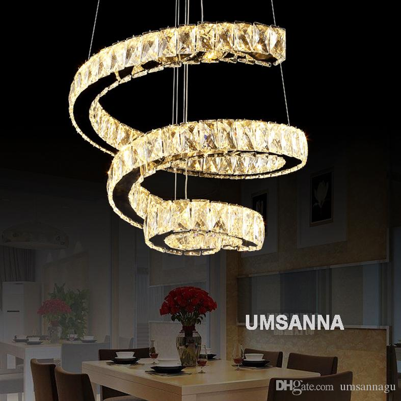 LED Modern Crystal Pendant Lamps Dimmable Spiral Pendant Lights Fixture 3 Colors Dimming Hanging Lamp Cafes Hotel Villa Home Indoor Lighting