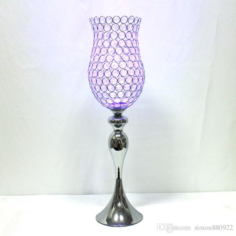 Spedizione gratuita metallo argento cristallo portacandele cristalli candelabri decorazione di cerimonia nuziale candeliere stile europeo h28inc