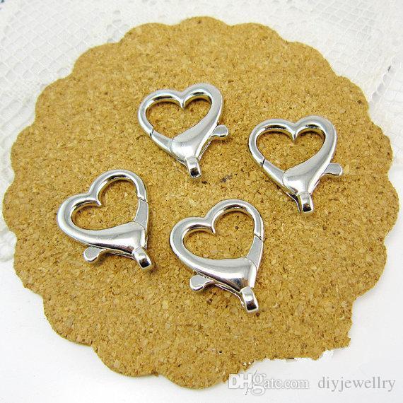 Büyük Kaliteli Antik Bronz / Gümüş ton Kalp Şekli Istakoz Kapat Hooks Bağlayıcı Kolye Charm Bulma, DIY Aksesuar Mücevherat