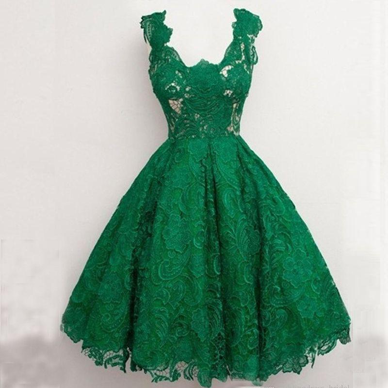 Compre Vestido De Fiesta De Color Verde Esmeralda Vestidos Curto De Festa 2019 Longitud De La Rodilla Noche Dreknee Longitud Fiesta Sexy Vestido De