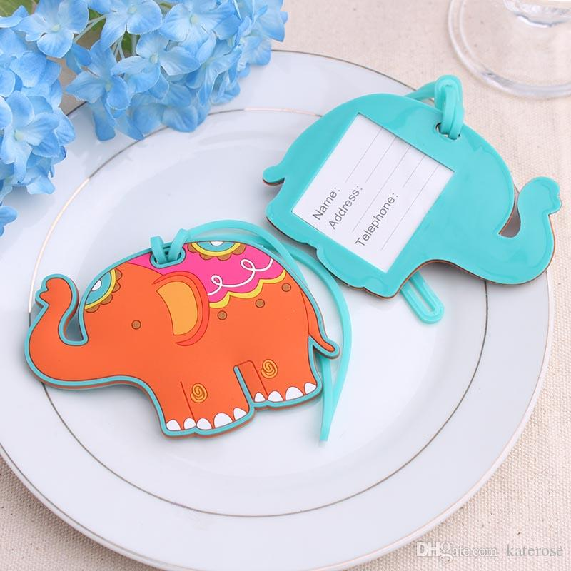 50PCS Lucky Elephant Luggage Tag Baby Shower Favors Rubber Baggage Tags Wedding Party Giveaways Gift to Guest FREE SHIPPING