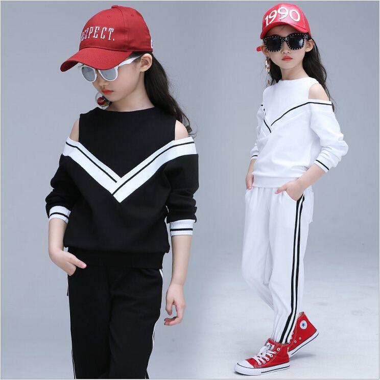 Nuovi bambini imposta la ragazza Fashion Hip Hop Dancewear moderno Set Kid Dance Costume manica lunga TopPants Principessa Tute Tuta