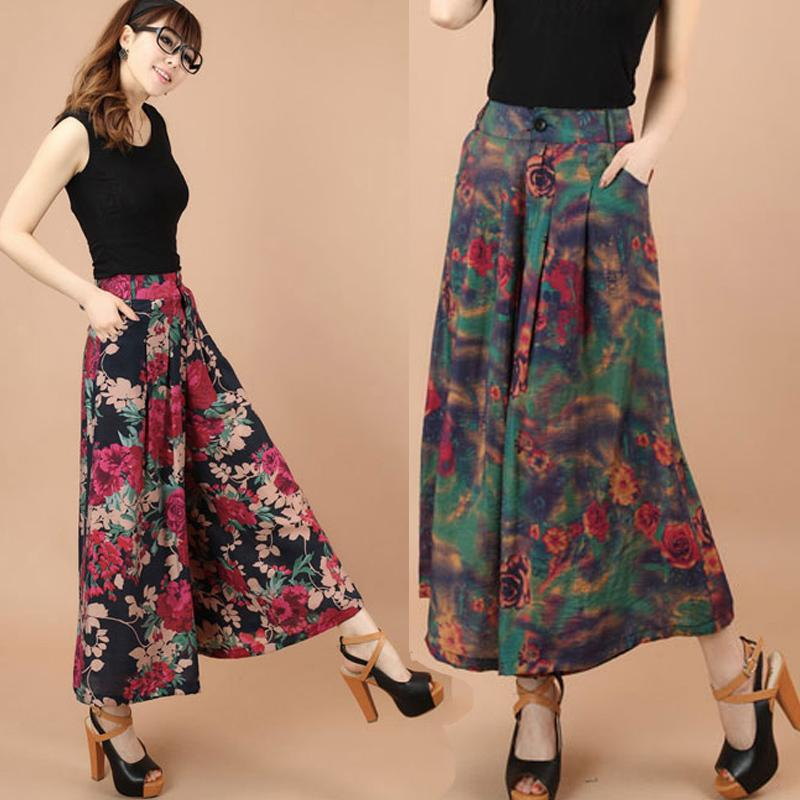 2017 Big Plus Size Summer Women Printed Flower Pattern Wide Leg ...