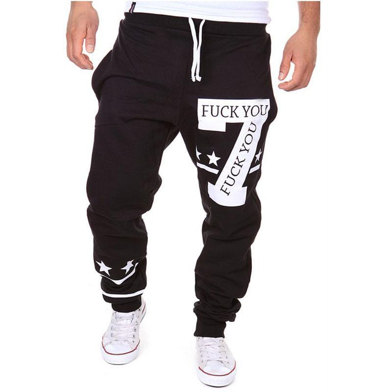 Toptan-Yeni Gelmesi erkek Hip Hop Ter Pantolon Dans Jogger Baggy Pantolon Rahat Elastik Bel Baskılı Spor Harem Pantolon