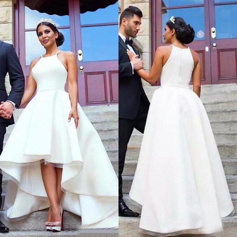 Discount 2017 Arabic White High Low Wedding Dresses Cheap Halter ...