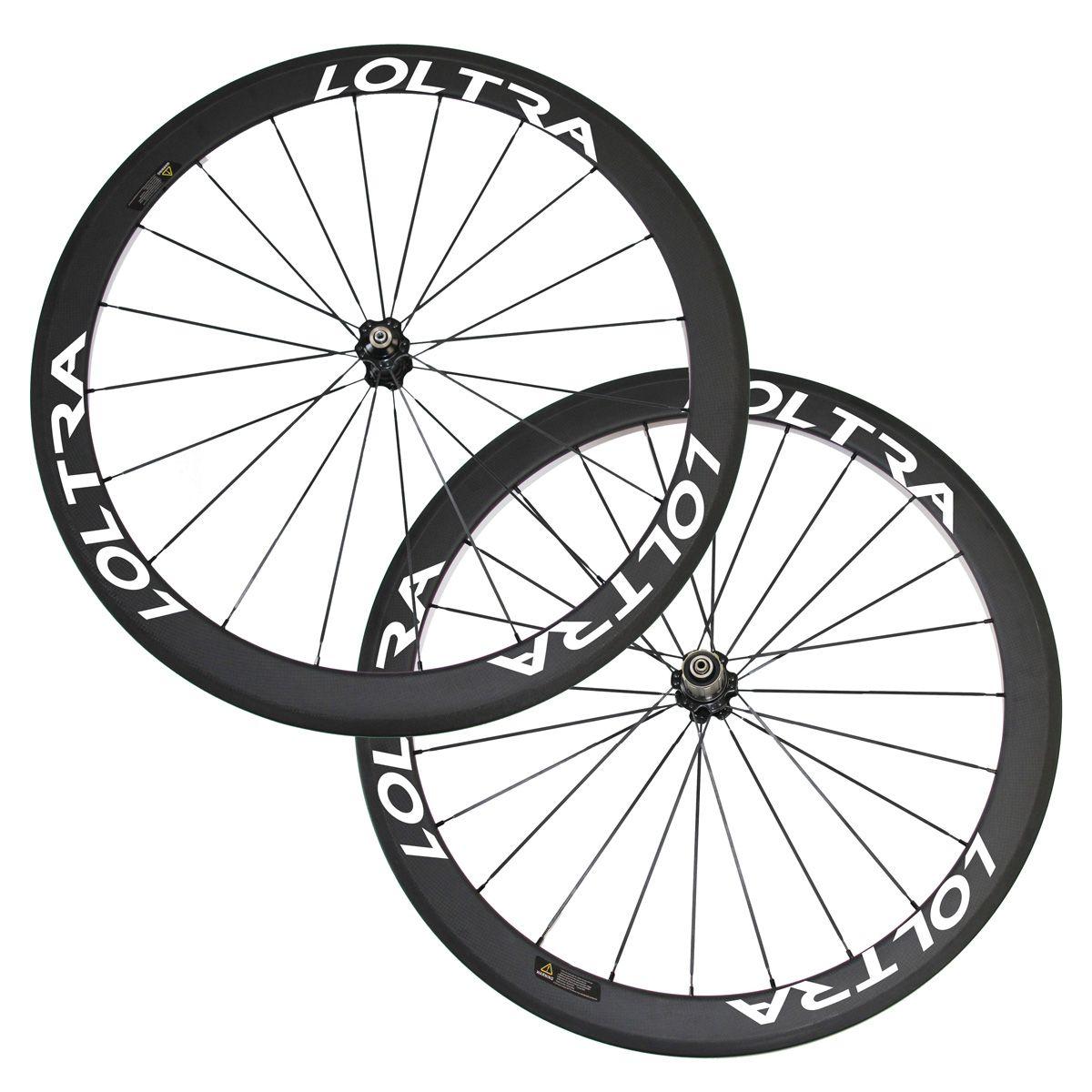 700C Full Carbon Bicycle Carbon Wheels 50mm Clincher Road Wheelset Black CN494 flat spokes Road Bike Wheels Loltra racing bike