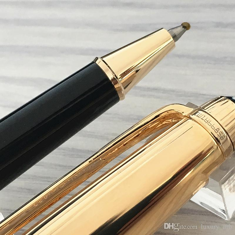 Caneta de luxo 925 Alemanha tarja de metal vertical Ouro e prata de metal Caneta esferográfica rollerball pen suprimentos