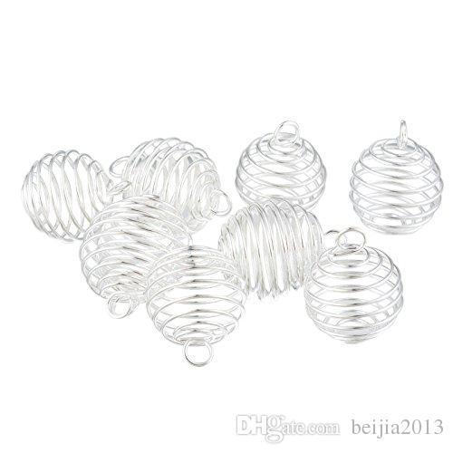 Cages de perles en spirale argentées Pendentifs Pendentifs 29x24mm Constatations de bijoux Faire bricolage 20pcs / lot