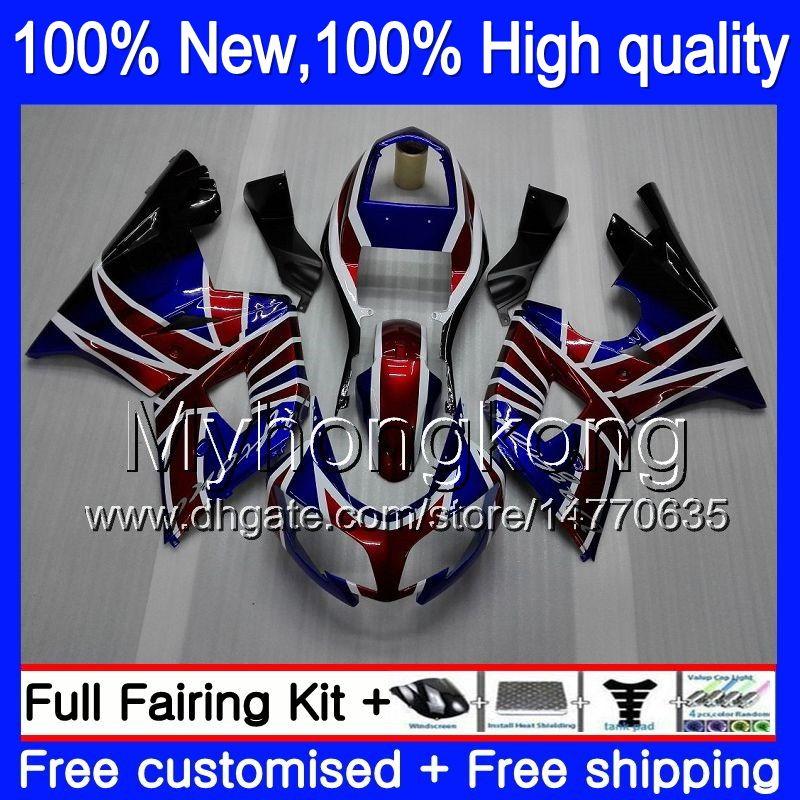 Bodys Fairings For Triumph Daytona 600 03 05 650 03 04 05 Daytona600 Drapeau 6MY7 Daytona650 Daytona 650 600 2003 2004 2005 Carénage Bleu rouge