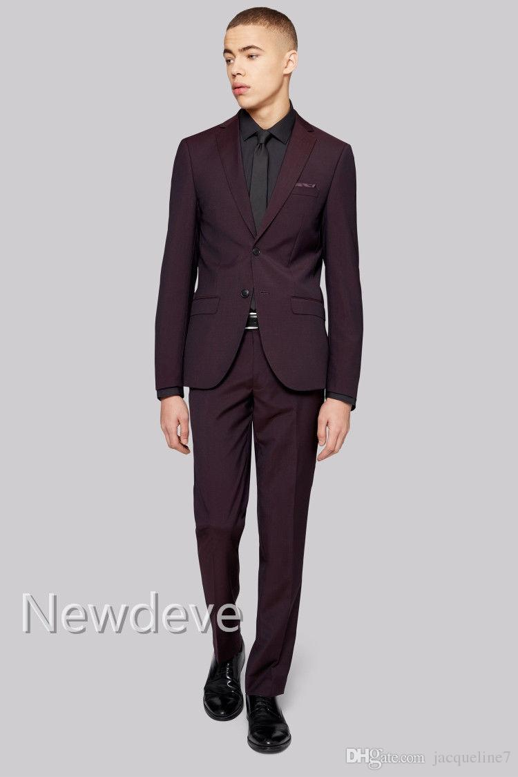 Burgundy Men\'s Wedding Suits Groom/bestman Cool Tuxedos Formal ...