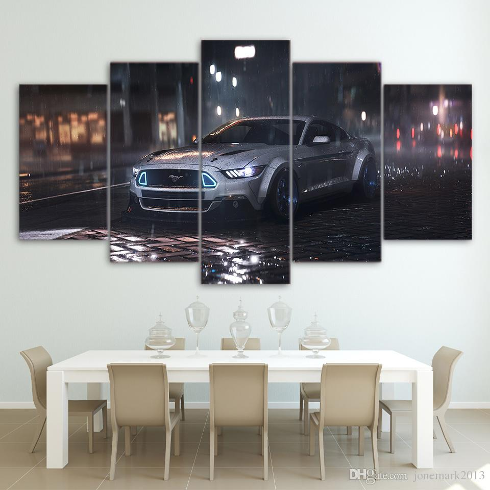Canvas Art Ford Mustang Car Hd Printed Wall Art Home Decor Canvas Painting Picture Poster Prints