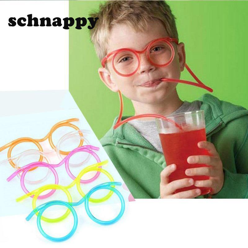 Diversión suave plástico paja graciosos gafas flexibles bebidas juguetes fiesta herramientas tubo herramientas niños bebé cumpleaños juguetes