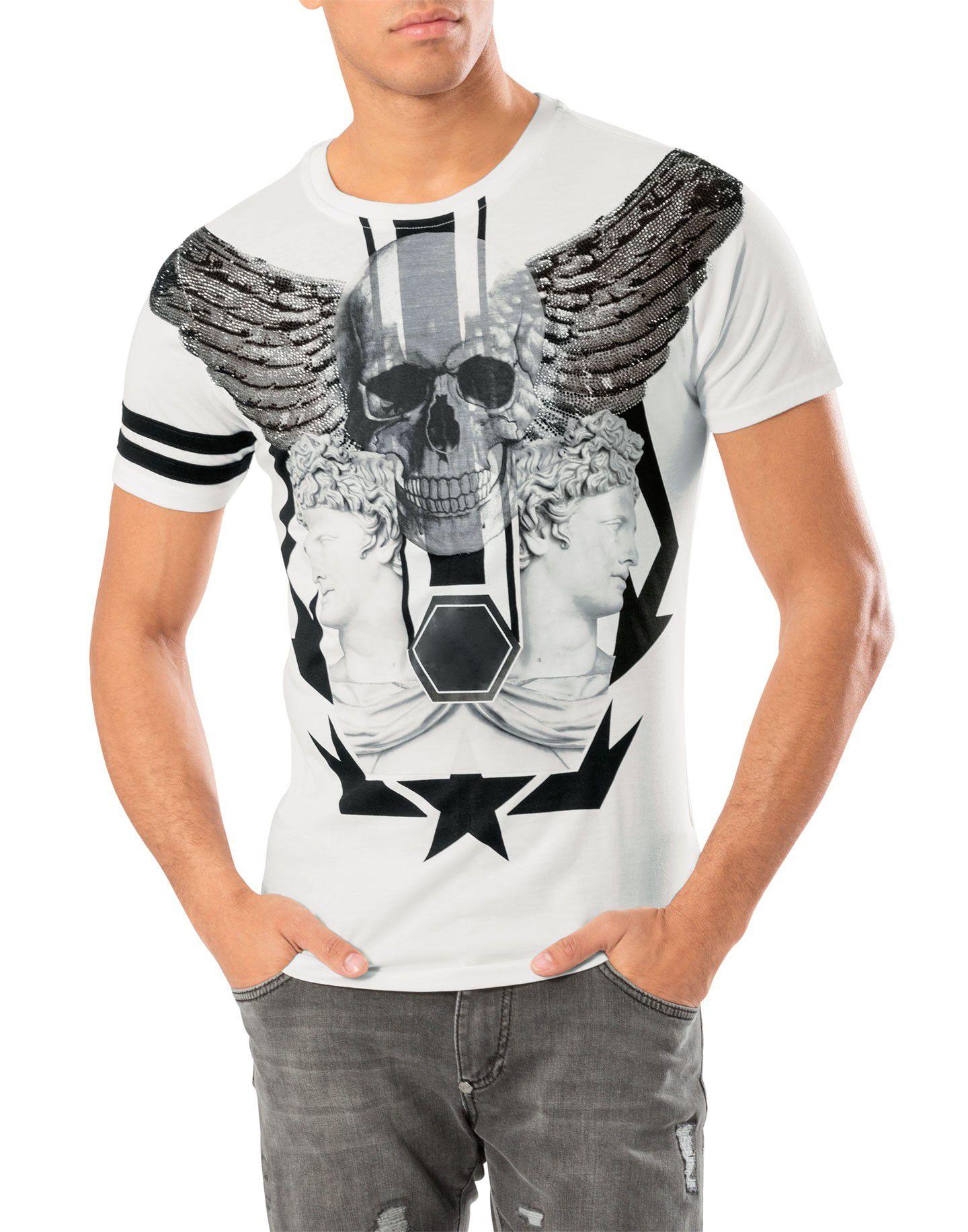 Erkekler T-shirt Rhinestone Kafatası Baskılı Grafik Tops Tees Rahat T Gömlek Homme Crewneck Kısa Kollu Erkekler Için Tişört Marka Giyim