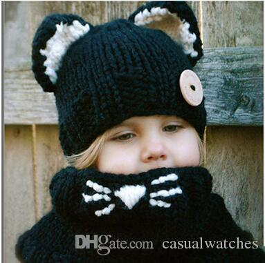 Korean Style Children's Cute Cat Knitted Hats Scarves Sets Winter Keep Warm Cartoon Kid's Hat Scarves Sets Woolen Beanie