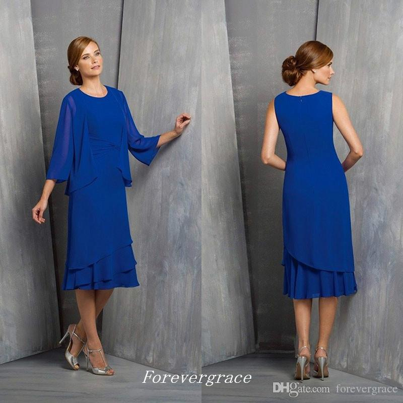 Elegant Royal Blue Mother of the Bride Dresses Chiffon Formal Godmother Women Wear Suits Evening Wedding Guests Gown Custom Made Plus Size