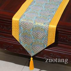 Luxury Chinese style Patchwork Table Runner Rectangle High End Dining Table Mats Natural Real Silk Brocade Tea Table Cloth 200x33 cm