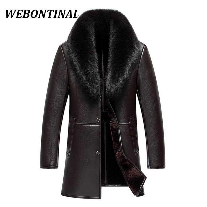 Gros- WEBONTINAL hiver Veste en cuir hommes Manteau Homme de qualité supérieure réel col fourrure chaud épais Faux coupe-vent hommes épais velours