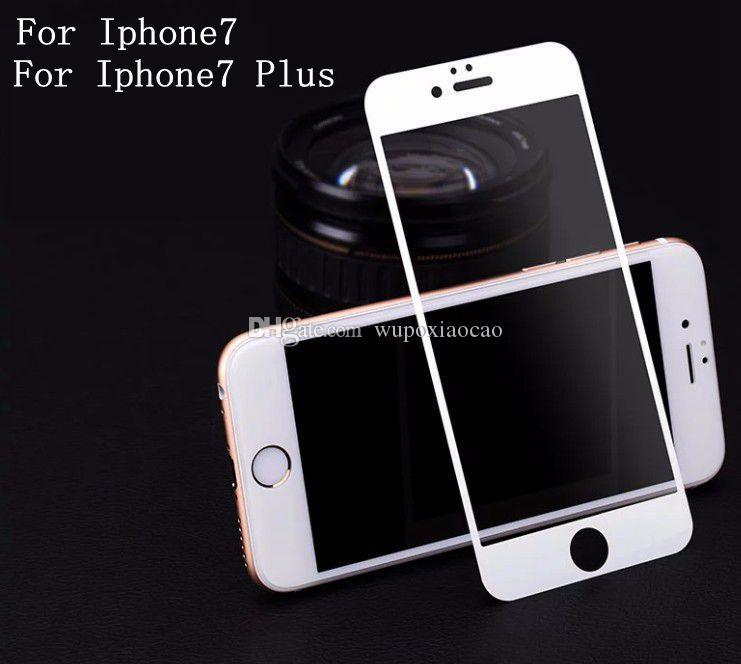 Per iPhone 7 7plus Full Cover Screen Protector in vetro temperato anti-graffio Free Bubble
