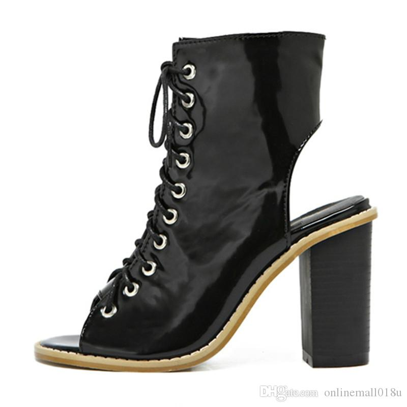 Hot Womens Boots Autumn Winter 2017 Fashion Sexy Ankle Boots Hollow Out Ladies Shoes Woman Leather For Women Botas Mujer