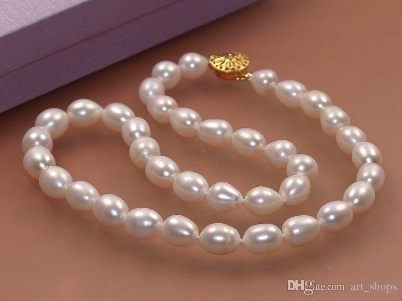 """7-8mm Echte Natürliche Reis Weiß Akoya Cultured Pearl Verschluss Halskette 18 """""""