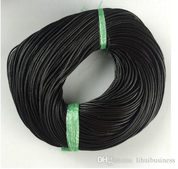 100yard/lot 3mm DIy jewelry cord black brown beige color Genuine Leather rope Diy jewelry accessories environmental round leather line