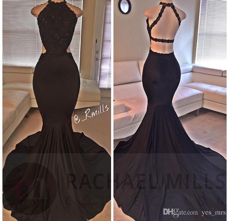 2020 Nova Mermaid Dresses Prom alta Neck Black Lace apliques de contas Spandex Open Back Tribunal Trem Plus Size Partido barato vestido de noite Vestidos