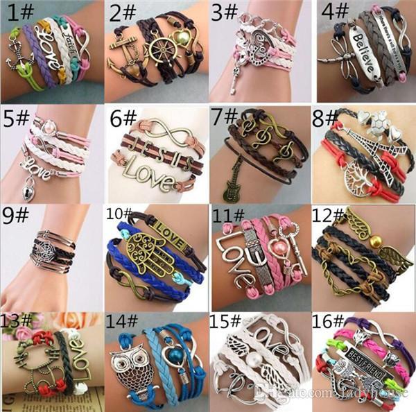 Infinity Bracelets Fashion HI-Q Jewelry Antique Leather Bracelet Vintage Designs Accessories Cross Love Peach Heart Owl Bird Charm