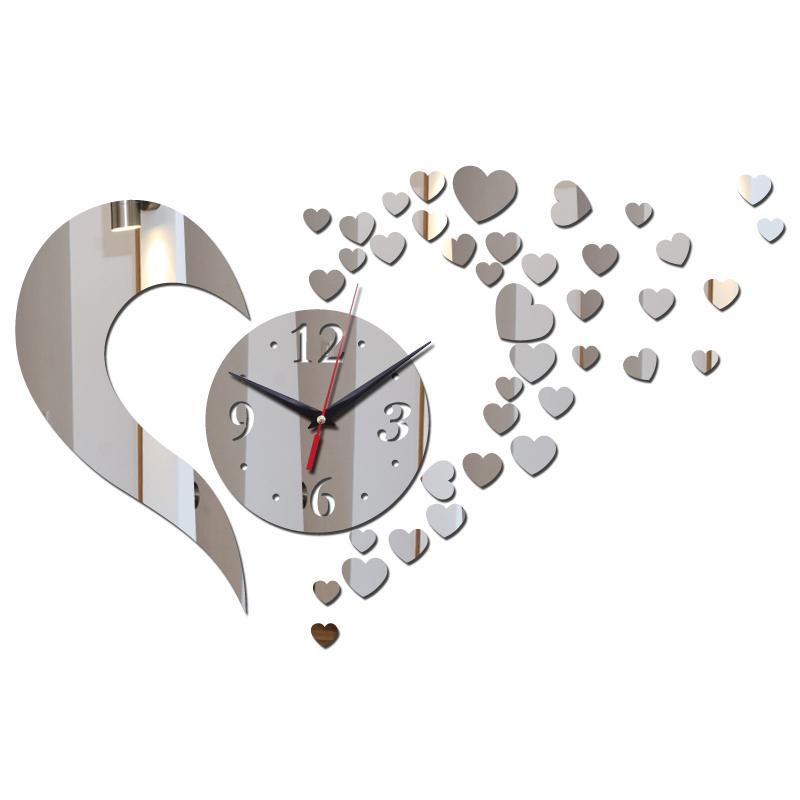 Wholesale-2016 arrival hot room silver big flower quartz acrylic wall clock modern design luxury 3d mirror clocks watch free shipping