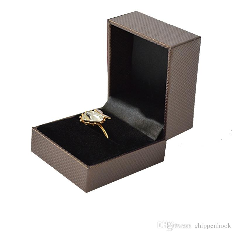 6pcs Wholesale Plastic Jewelry Display Box Brown Ring Packaging Box Engagement Ring Gift Storage Box 5*4.5*3.8 CM