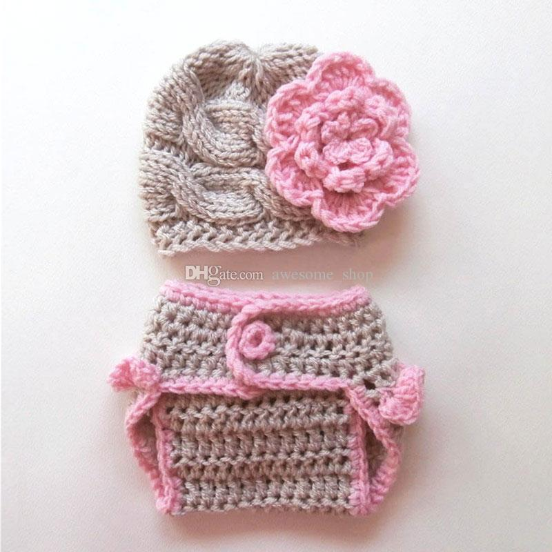 2019 Novelty Lovely Grey Pink Flower Baby Girl Outfitshandmade Knit