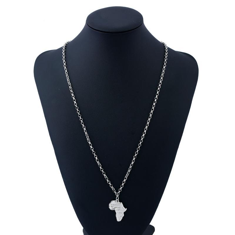 2018 piccola Africa Mappa catena d'argento placcato dichiarazione Pendenti di collana di gioielli Semplice moda punk collane del choker per i monili delle donne all'ingrosso