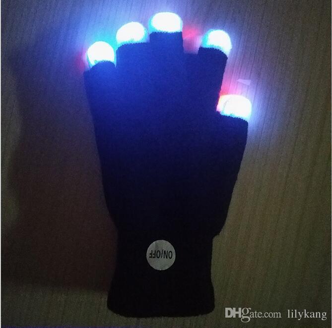 Gants Flash 7 LED de couleur partie des gants de jouets éclairés costume d'Halloween incandescentes lumière LED doigt gant jusqu'à goves pour un concert de musique de fête