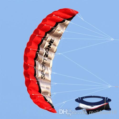 Énormes 2.5m double ligne Parafoil Parachute Stunt Sport Plage Jouets extérieurs cerf-volant rouge