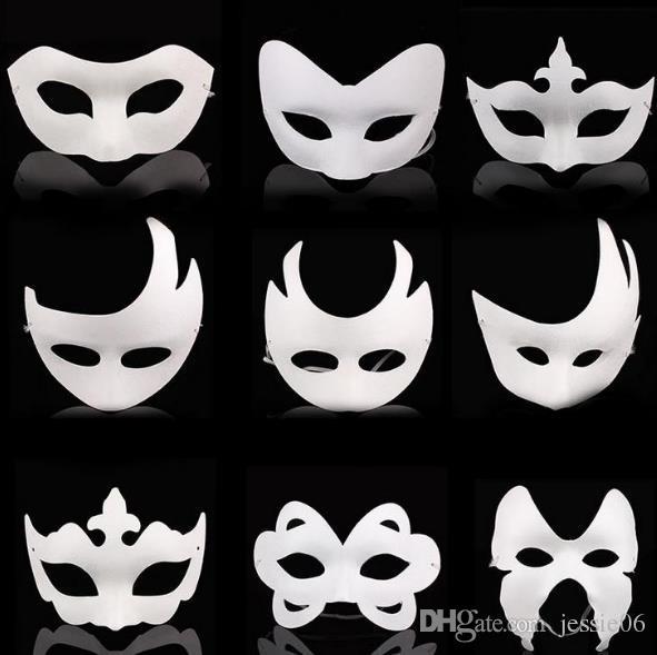 Bianco in bianco Masquerade maschera per bambini adulti Mardi Gras di Natale di Halloween mezzanotte costume mezzo del fronte pieno del maschere cartone animato Animal Mask
