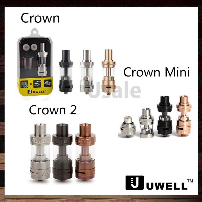 Uwell Crown Sub ohm Tank 4.0ml Crown 2 5ml Atomizzatore 2ml Crown Mini Tank Resistente alle perdite Design di riempimento superiore Anello del flusso d'aria regolabile 100% Originale