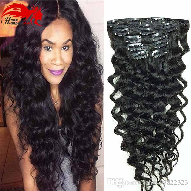 African American Hannah Clip in Human Hair extension Full Head Brazilian Hair Afro Deep Curly Clip In Extension Black Brazilian Hair