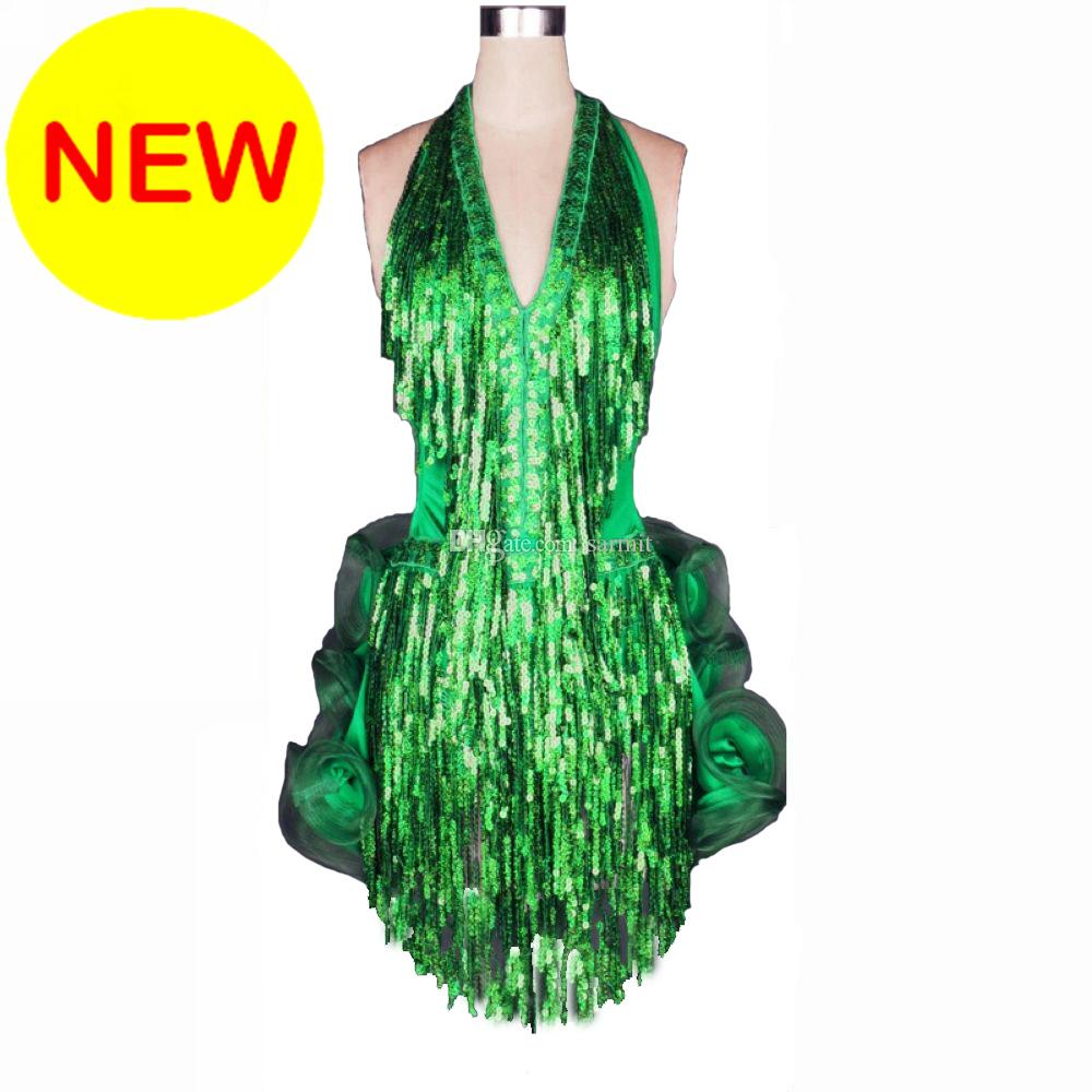 Sequins Latin Dance Dress Women Girls Latin Salsa Dance Competition Dresses Tassel Samba Costums D0186 8 Colors 16 Choices Fluffy Hem