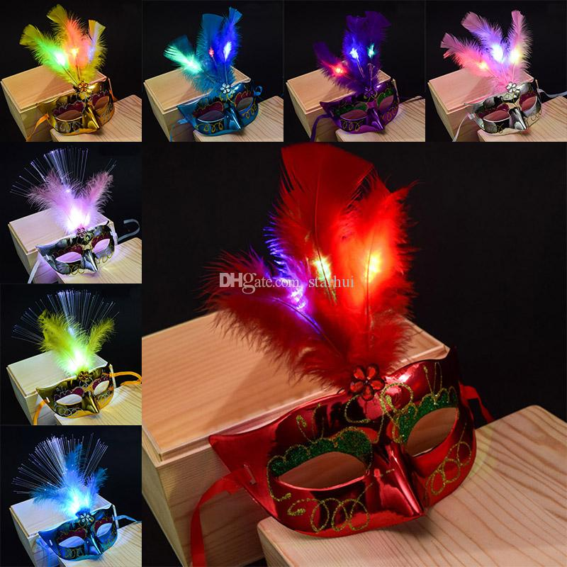 LED Halloween Parti Masques Flash Glowing Plume Masque Mardi Gras Mascarade Cosplay Vénitiens Masques Halloween Costumes Party Cadeau WX9-61