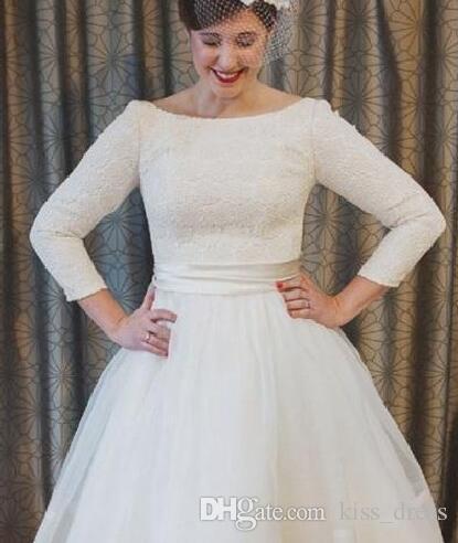 Discount Plus Size Short Wedding Dresses Vintage Style Scoop Neckline A Line 3 4 Long Sleeve Tea Length Lace Bridal Gowns Vestidos De Noiva W600 Wedding Wedding Dresses A Line Short Wedding Dresses