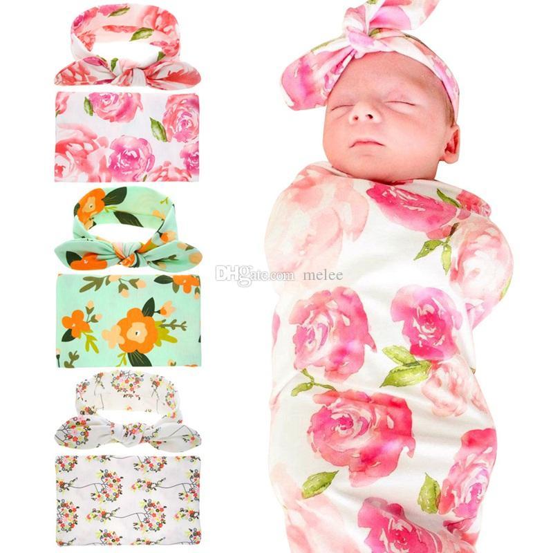 2Pcs//Cocoon Baby Sleeping Bag+Newborn Top Knot Hat Infant Sleepsacks Swaddle