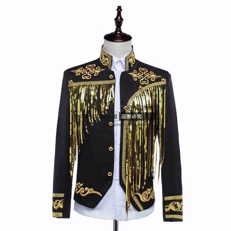 manteau de chanteur veste manteau pèlerin mâle paillettes or argent hôte vêtements discothèque étape théâtre star danseur manteau