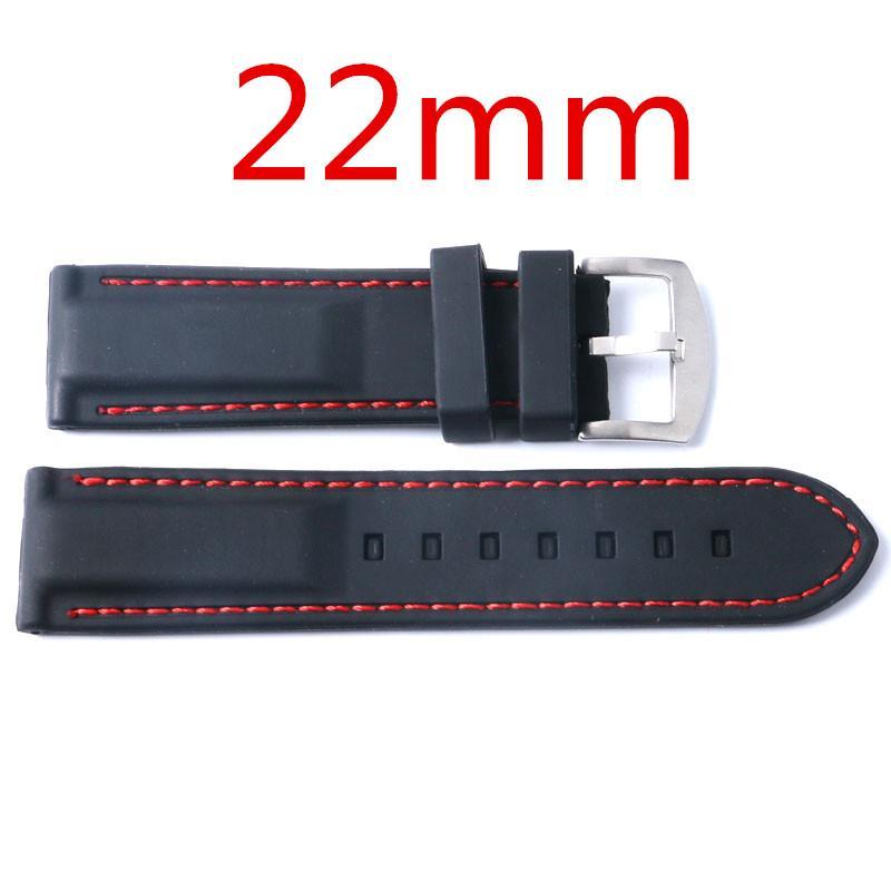 Toptan-Yeni Arrice 22mm Spor Watch Band Siyah Silikon Saatı Kayış Paslanmaz Çelik Pin Toka Saatler Aksesuar