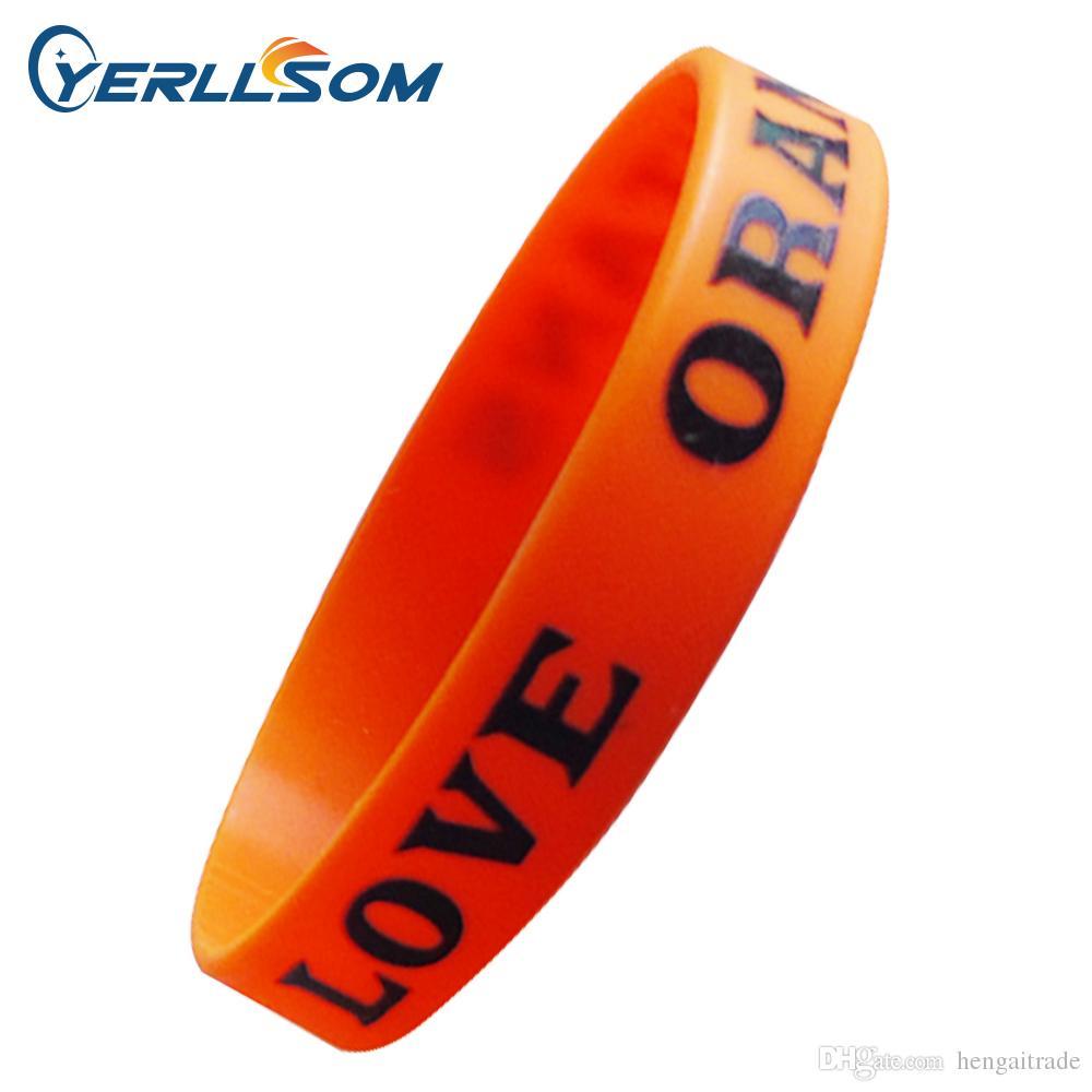 Gratis frakt 500PCS / Lot anpassad personlig skärmtryck Textur eller logotyp Silikon Armband för händelse P061430