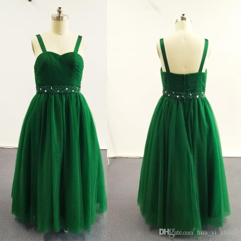 2016 Green Ball Gown Little Girl Pageant Klänningar Double Strapped Beaded Pleated Ruched Tulle Dress 13315