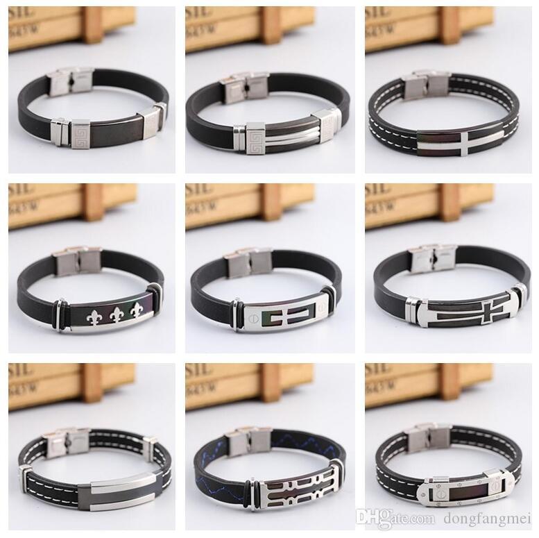Hot sale Stylish retro charm classic plating black silicone stainless steel bracelet FB366 mix order 20 pieces a lot Slap & Snap Bracelets