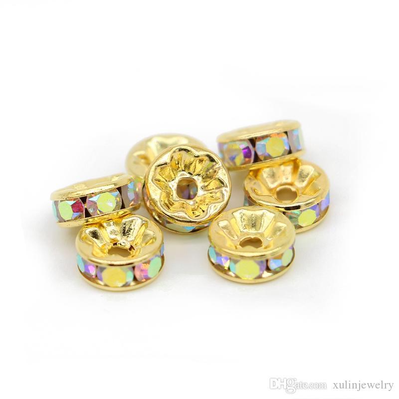 Perle di strass di cristallo di colore dell'oro 6mm 8mm 10mm 12mm Rondelle branelli del distanziatore 100pcs / pack per il braccialetto che fanno monili DIY, IA01-06