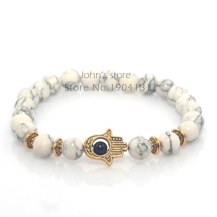 Al por mayor-8mm White Turquesa Natural Stone Beads Fatima Hand Hamsa Stretch elástico pulsera para hombre