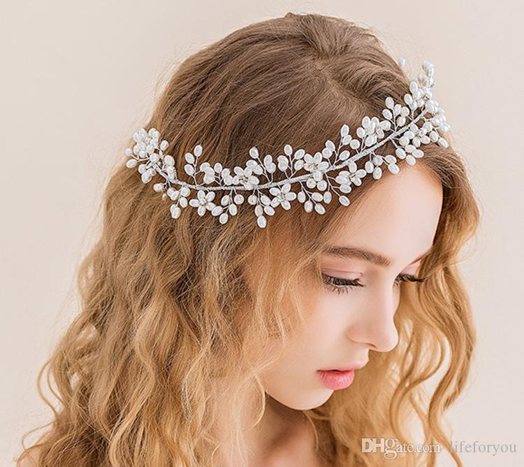 guirnalda artificial coronas de novia accesorios para el cabello diademas nupciales tocado de la boda para la novia tocado accesorios tocados de la perla