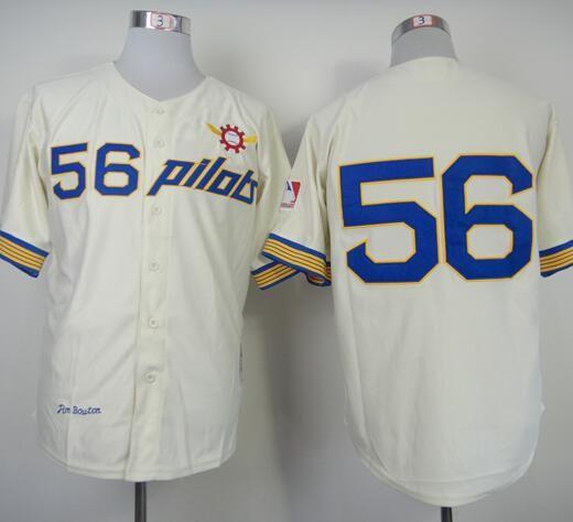 1969 سياتل الطيارين جيم بوتون البيسبول جيرسي ريترو كريم 56 جيم بوين قميص خمر رخيصة مخيط الفانيلة فريق الرجعية